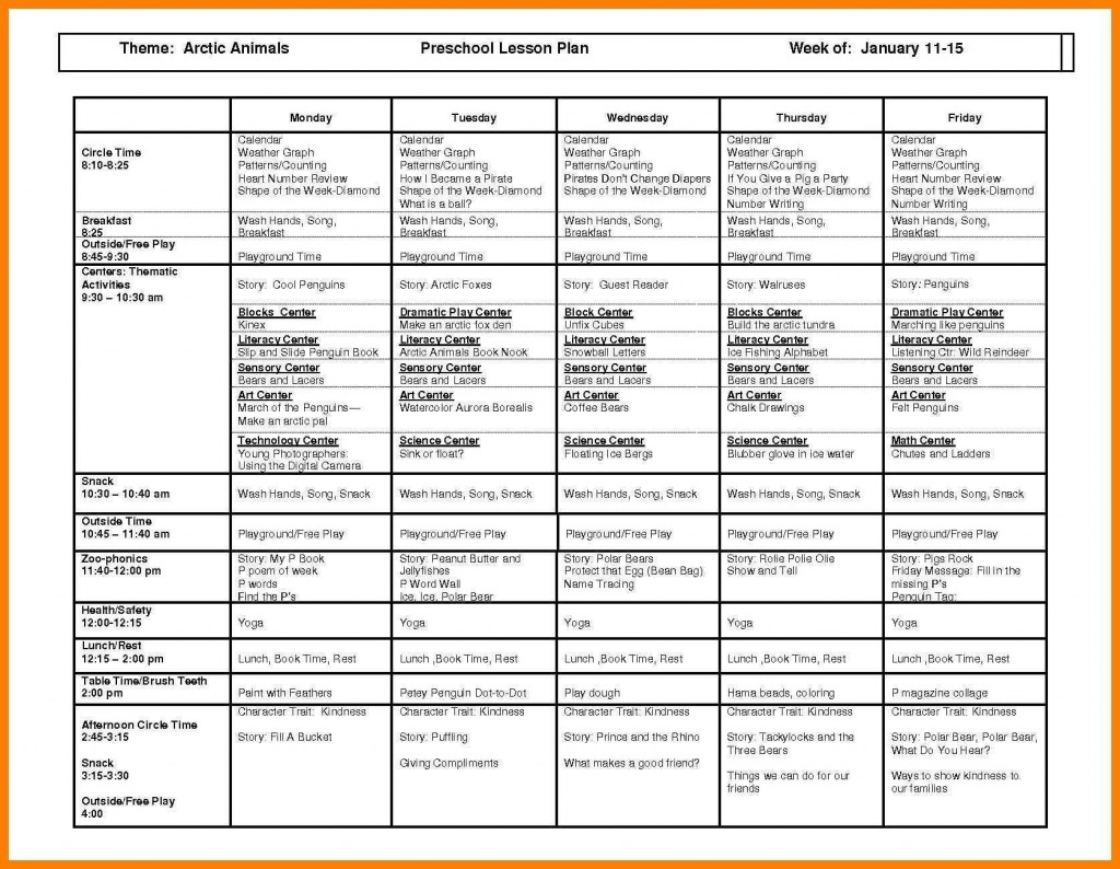 002 Excellent Childcare Lesson Plan Template High Def  Daycare Example Child CareLarge