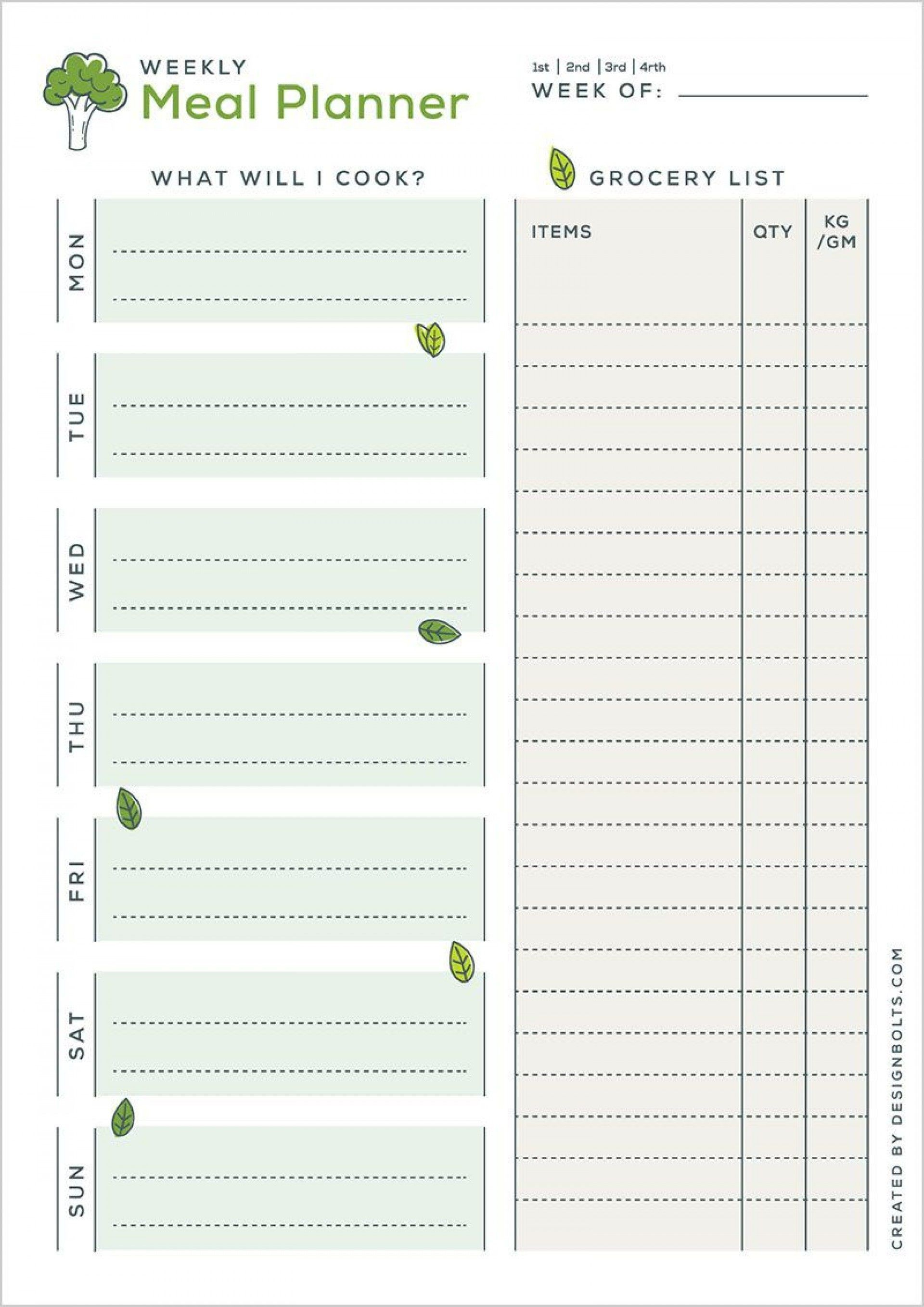 002 Excellent Free Meal Planner Template Word High Definition  Editable Weekly Monthly1920
