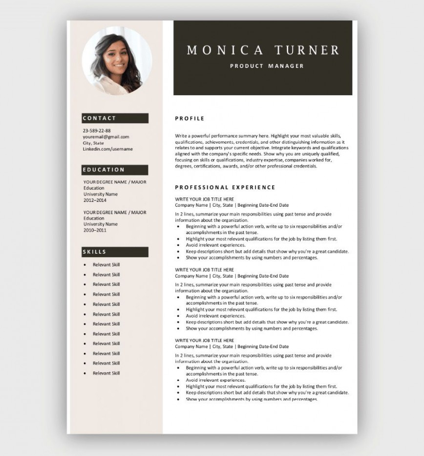 002 Excellent Free Resume Template To Download Inspiration  Word For Fresher Cv Sample Pdf