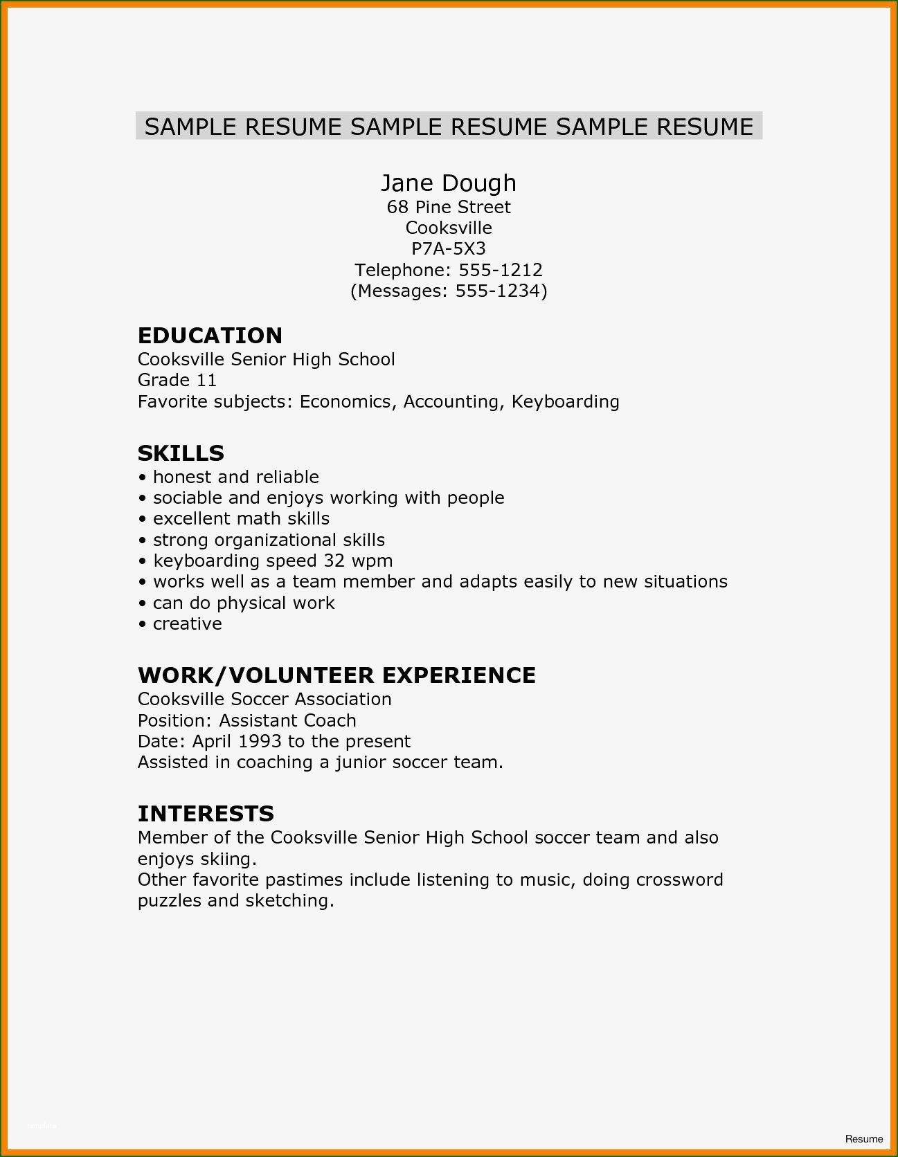 002 Excellent Free Sample High School Resume Template Highest Quality Full