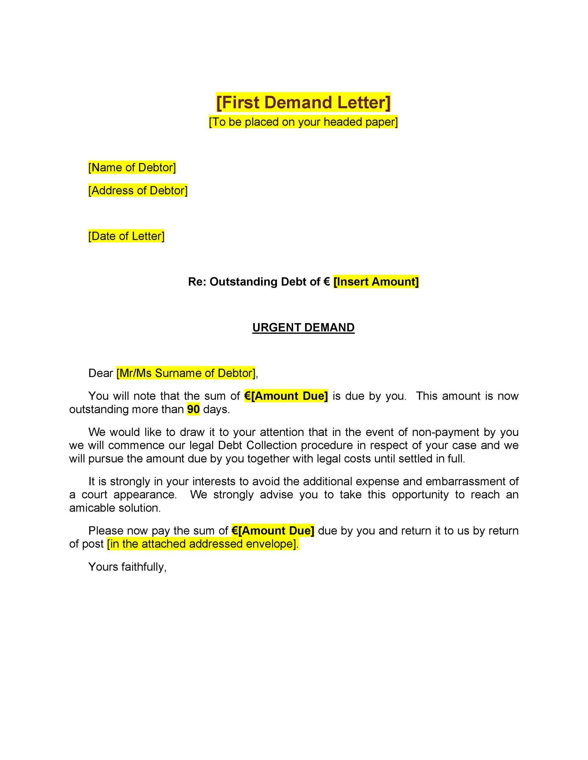 Late Payment Demand Letter Template ~ Addictionary