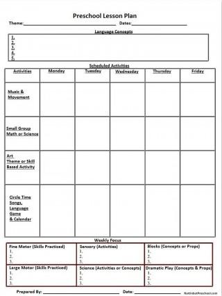 002 Excellent Lesson Plan Template For Preschool Image  Format Teacher Free Printable320