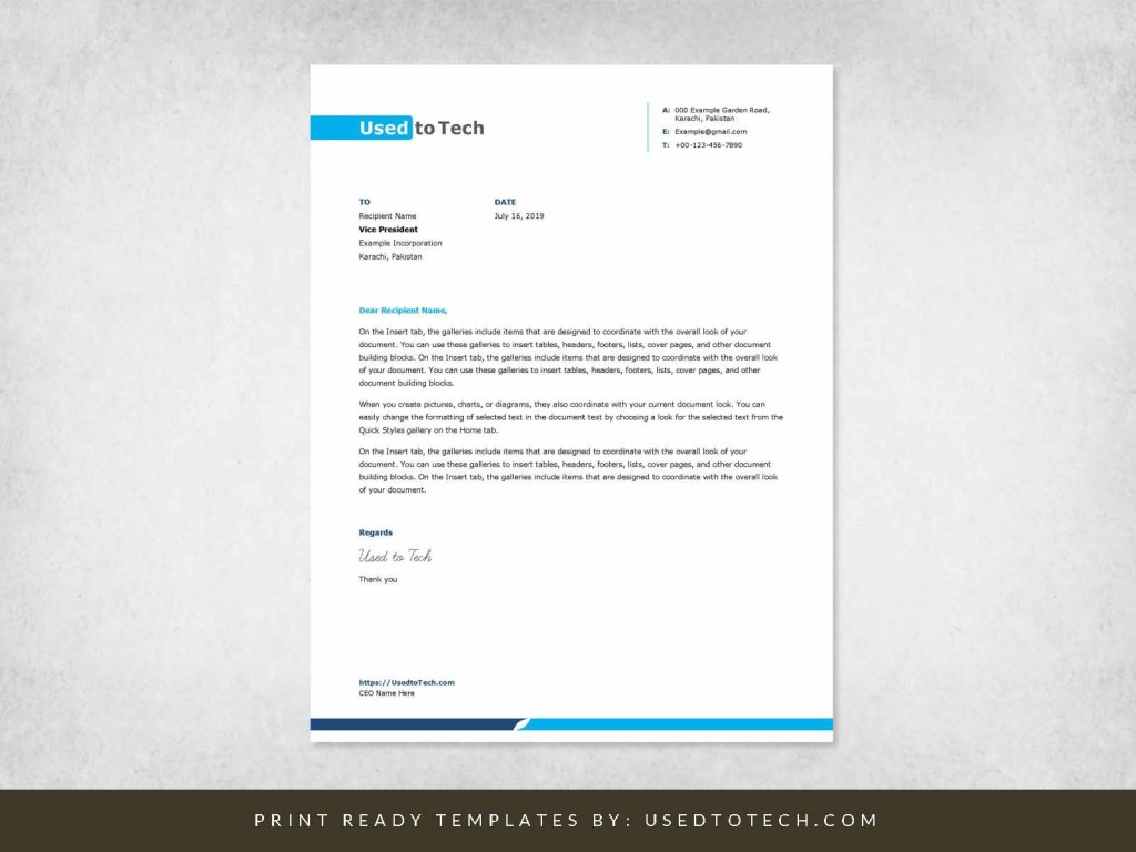 002 Excellent Letterhead Format In M Word Free Download Idea Large