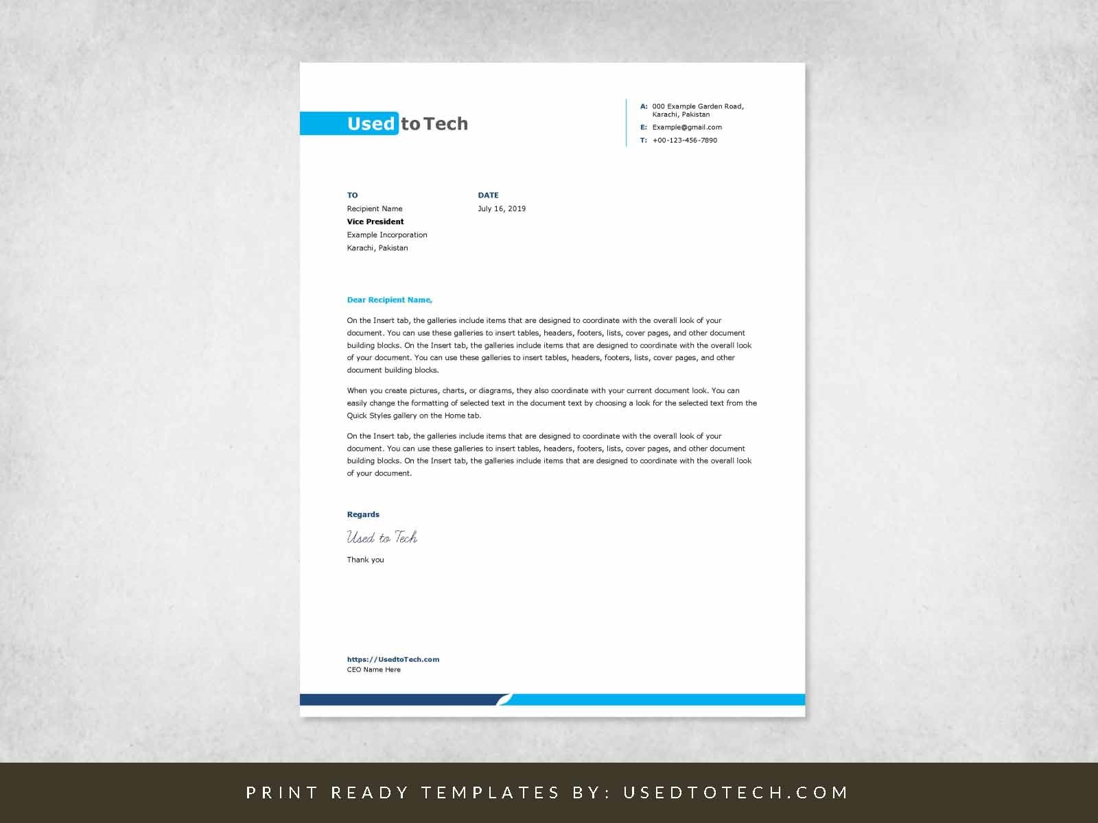 002 Excellent Letterhead Format In M Word Free Download Idea Full