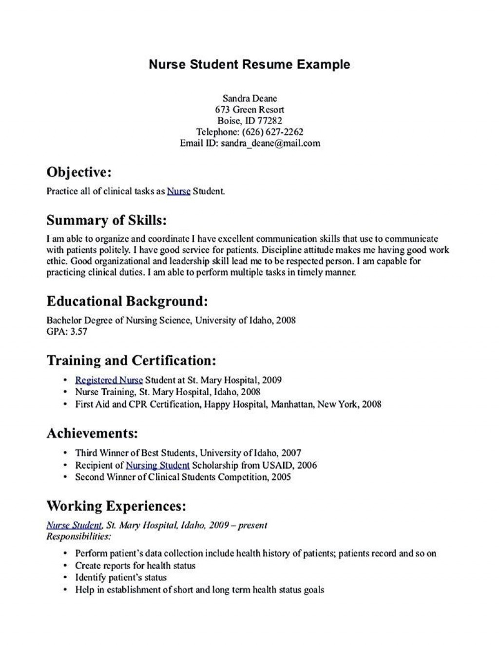 002 Excellent Nursing Student Resume Template Inspiration  Templates Free WordLarge