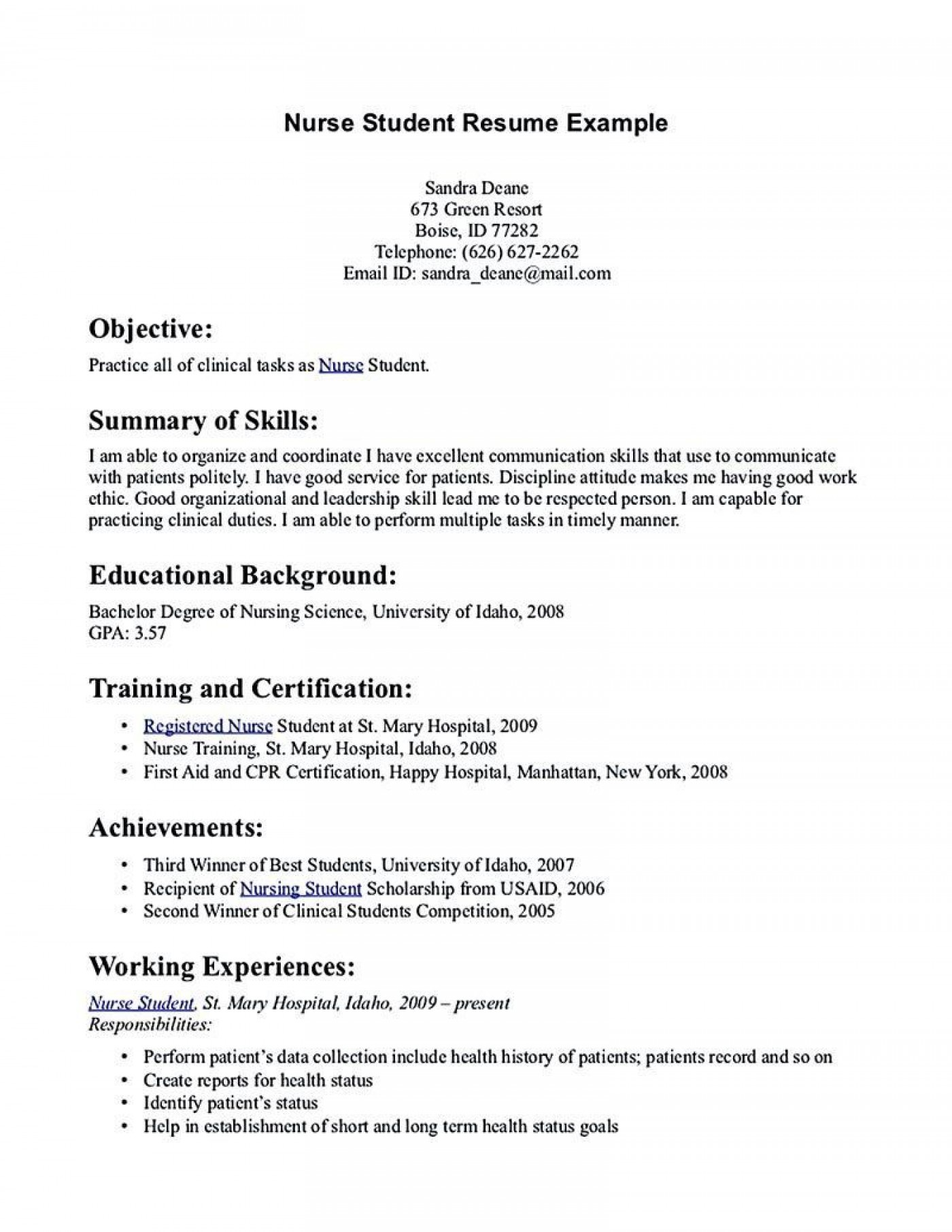 002 Excellent Nursing Student Resume Template Inspiration  Free Word1400