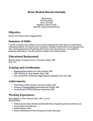 002 Excellent Nursing Student Resume Template Inspiration  Free Word320