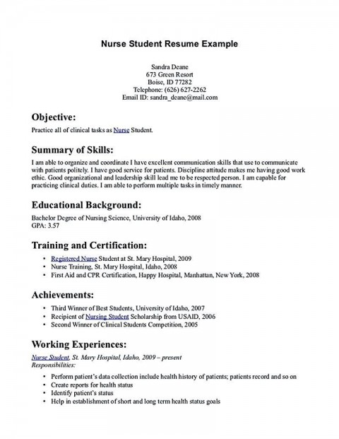 002 Excellent Nursing Student Resume Template Inspiration  Free Word480
