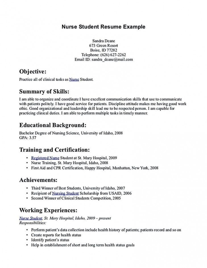 002 Excellent Nursing Student Resume Template Inspiration  Free Word728