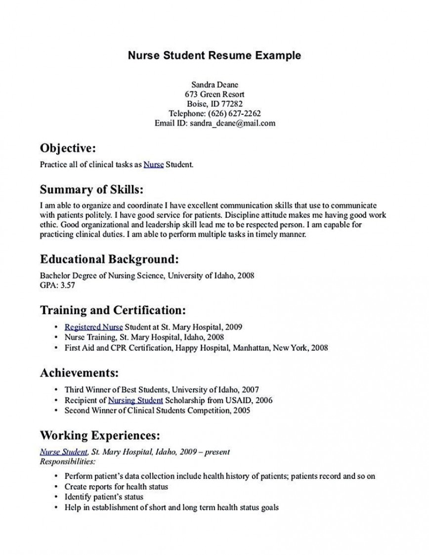 002 Excellent Nursing Student Resume Template Inspiration  Templates Free Word