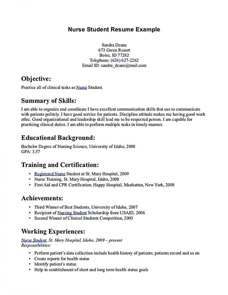 002 Excellent Nursing Student Resume Template Inspiration  Free Word960