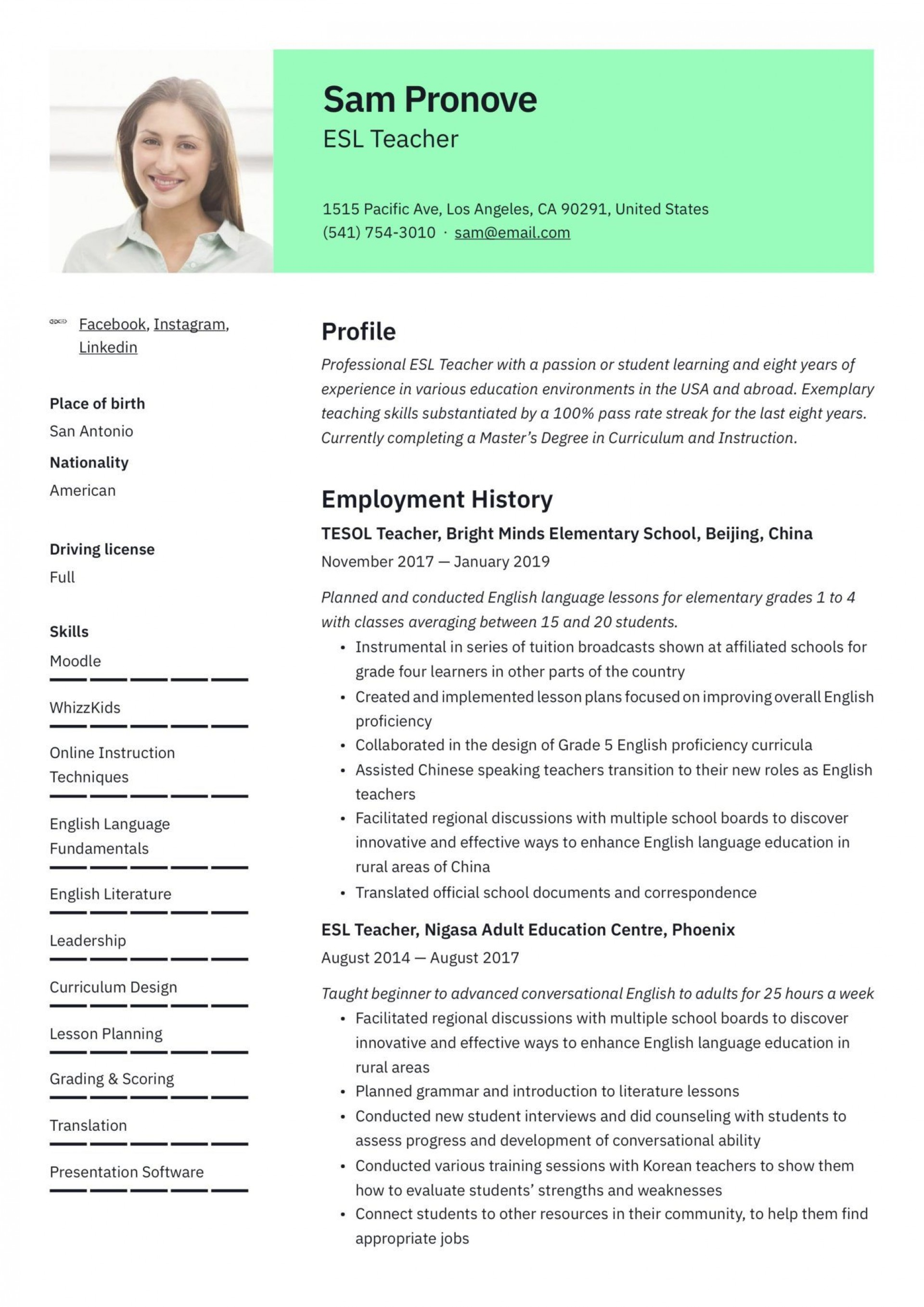 resume example for teaching english abroad  addictionary