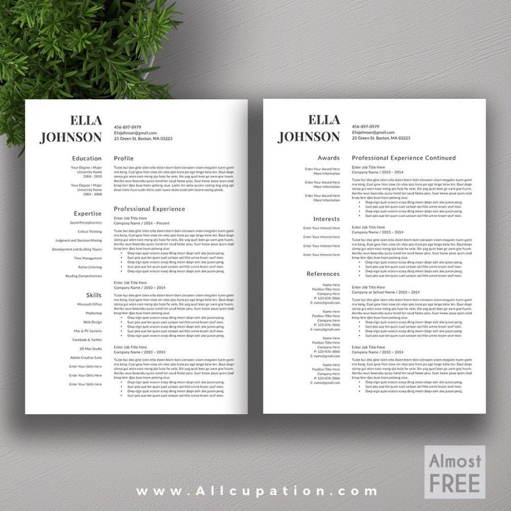002 Excellent Resume Template Free Word High Resolution  Download 2020 CvLarge