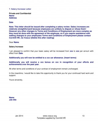 002 Excellent Salary Increase Letter Template High Resolution  From Employer To Employee Australia No For320