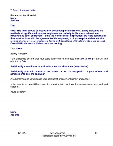 002 Excellent Salary Increase Letter Template High Resolution  From Employer To Employee Australia No For360