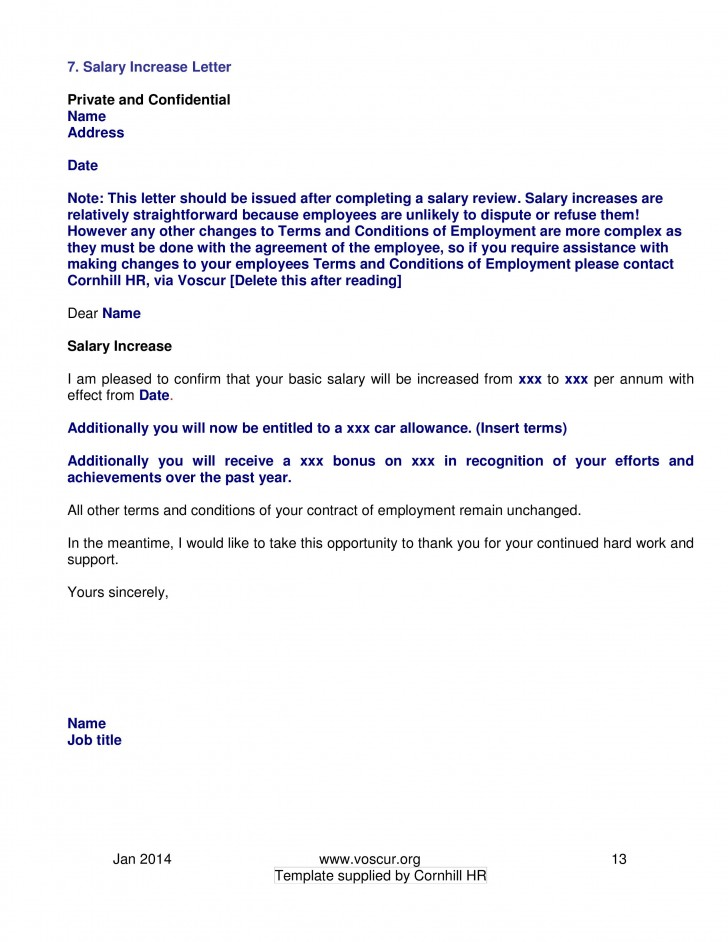 002 Excellent Salary Increase Letter Template High Resolution  From Employer To Employee Australia No For728