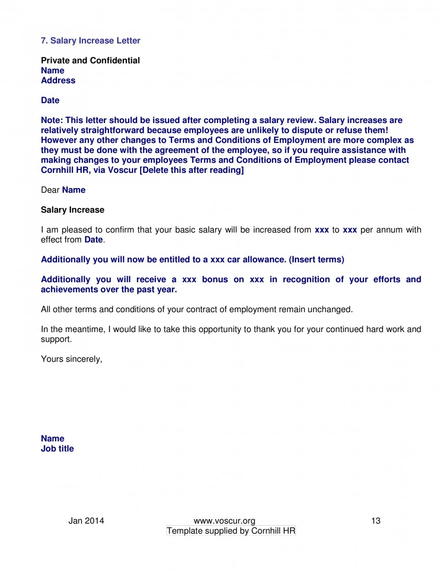002 Excellent Salary Increase Letter Template High Resolution  From Employer To Employee Australia No For868