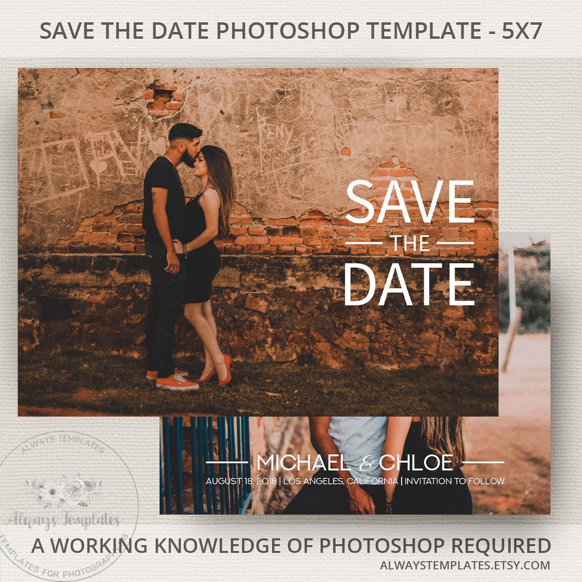 002 Excellent Save The Date Template Photoshop High Resolution  Adobe CardFull