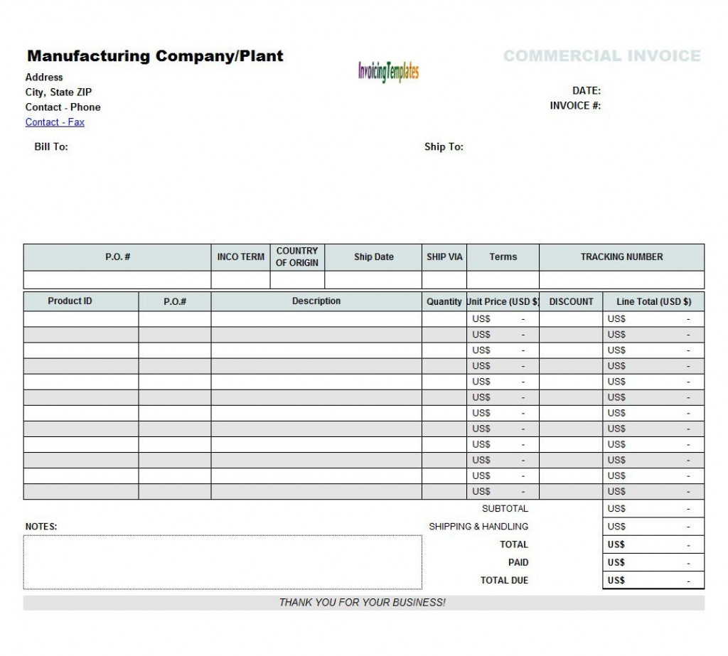 002 Exceptional Commercial Invoice Template Excel Image  Free DownloadLarge
