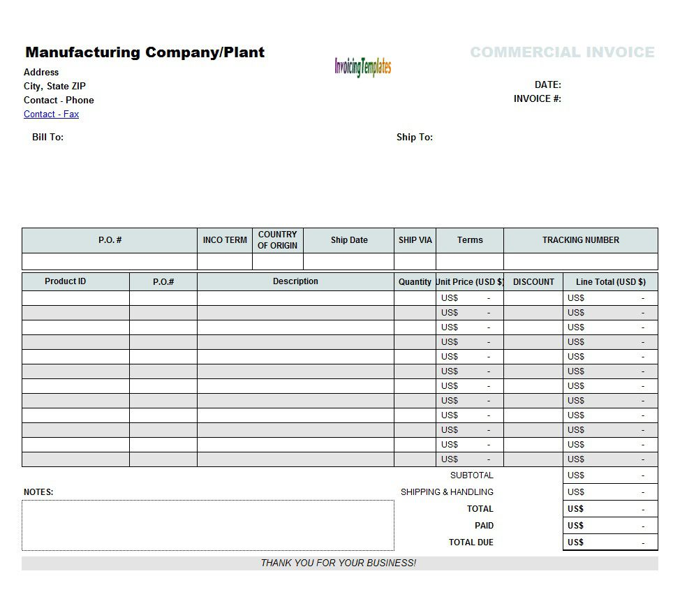 002 Exceptional Commercial Invoice Template Excel Image  Free DownloadFull