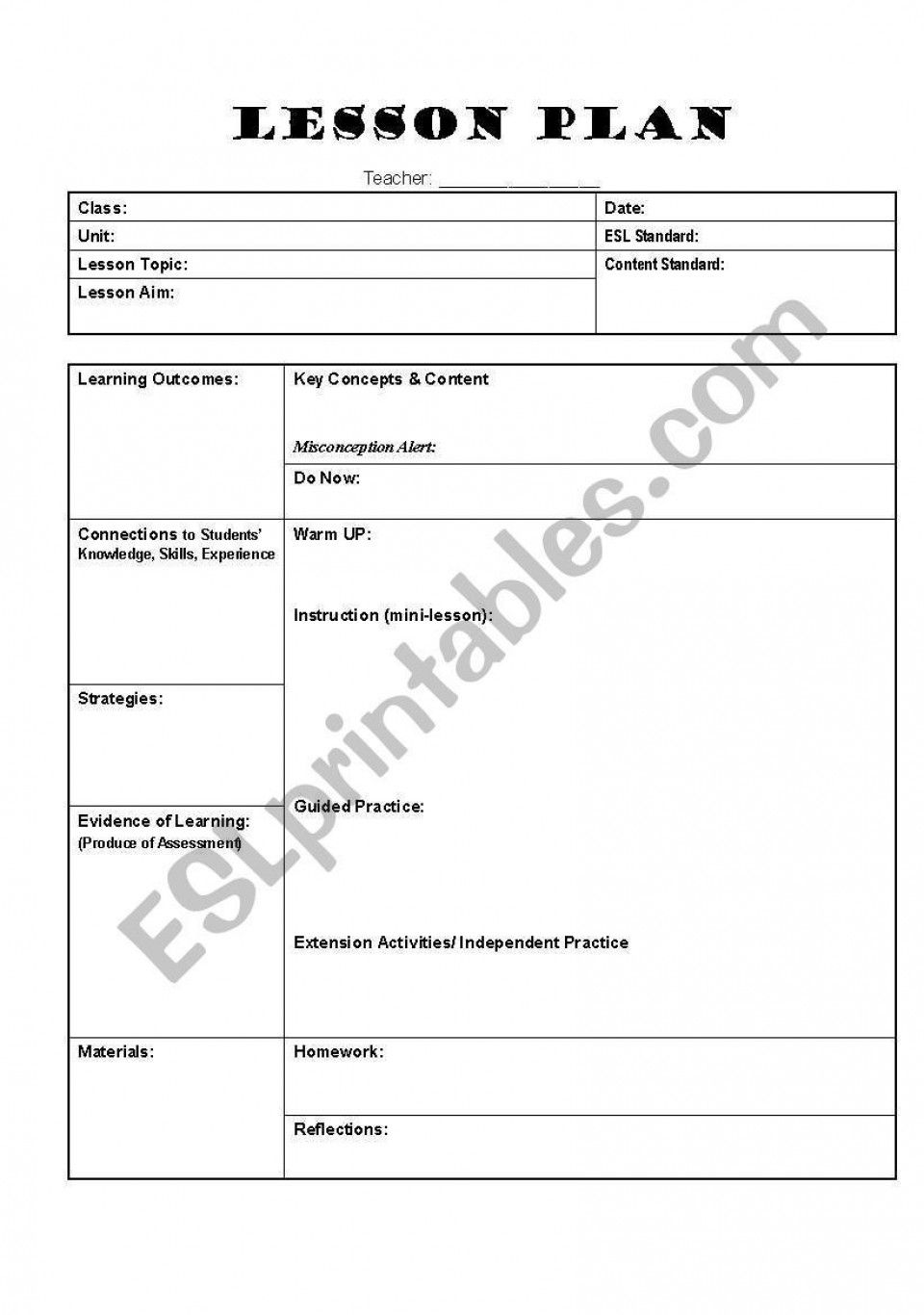 002 Exceptional Editable Lesson Plan Template Elementary Photo 960