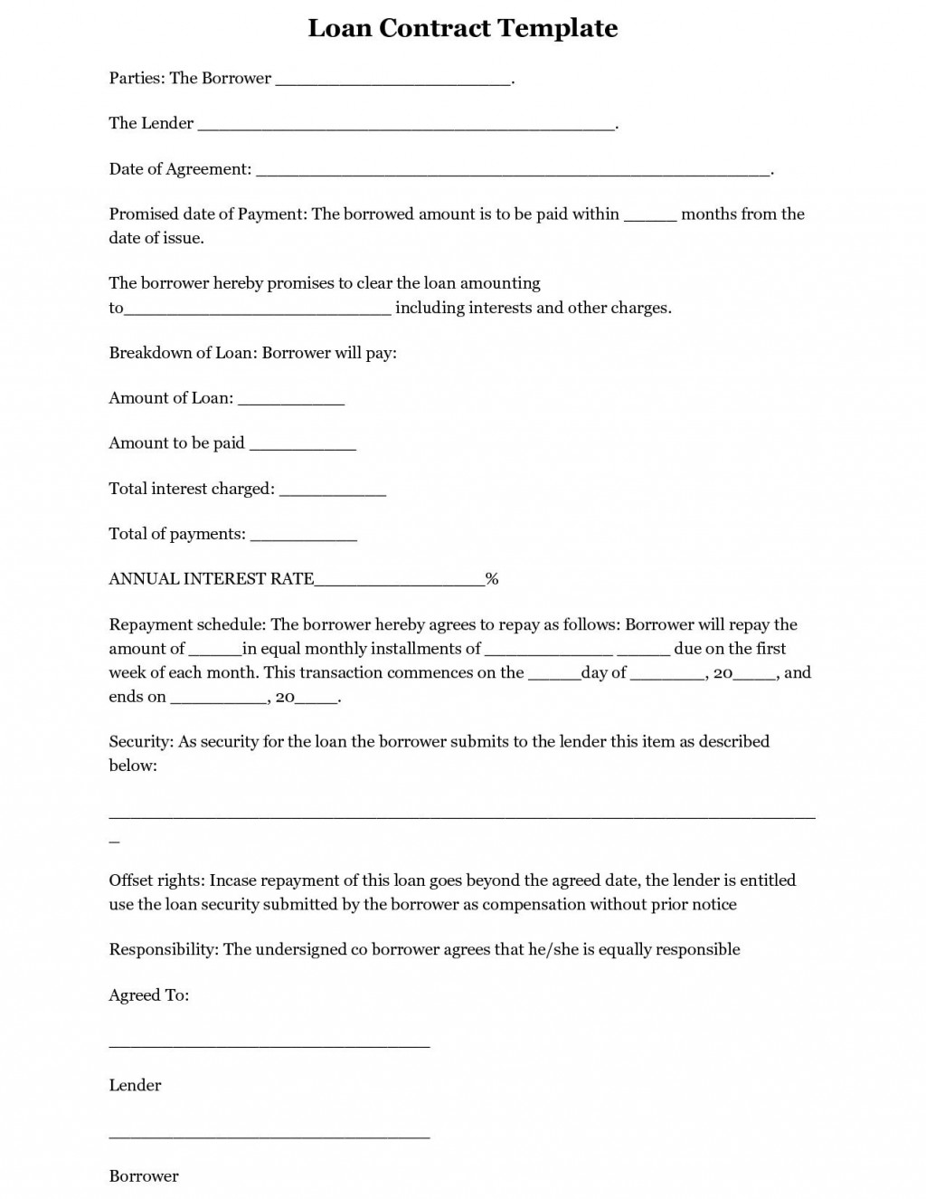 002 Exceptional Free Loan Agreement Template Word Concept  Simple Uk Personal Microsoft South AfricaLarge