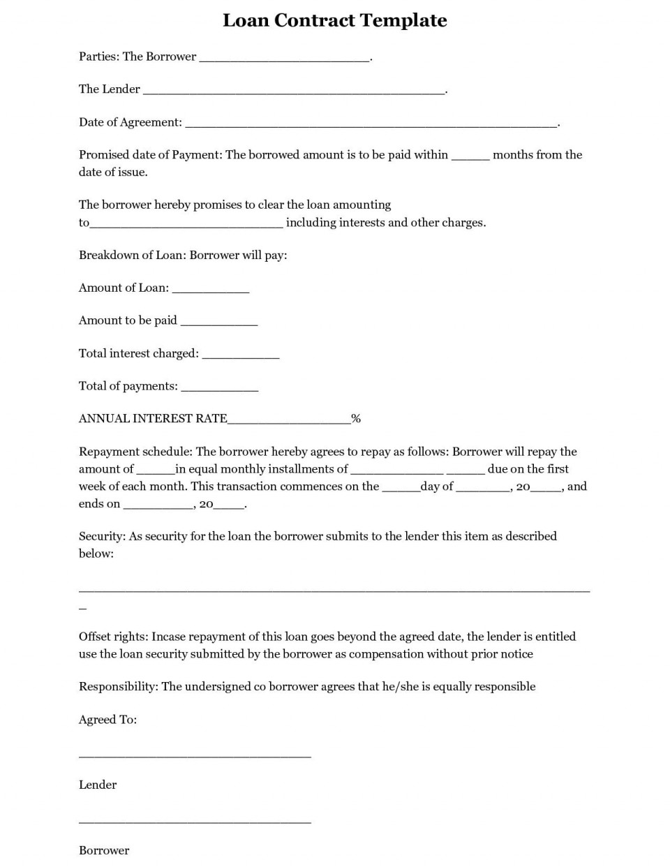 002 Exceptional Free Loan Agreement Template Word Concept  Simple Uk Personal Microsoft South Africa960