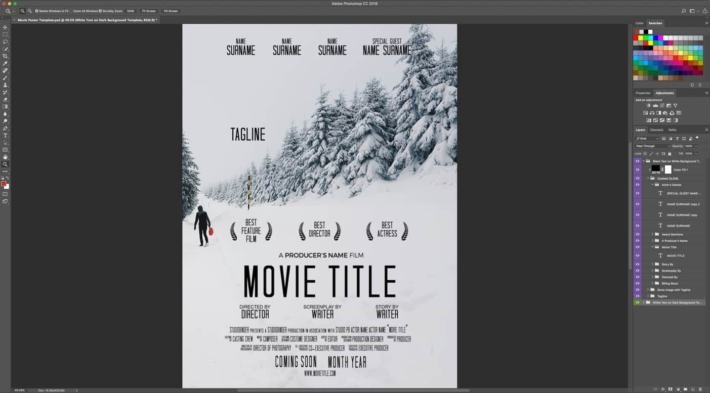 002 Exceptional Free Photoshop Movie Poster Template Design  TemplatesFull