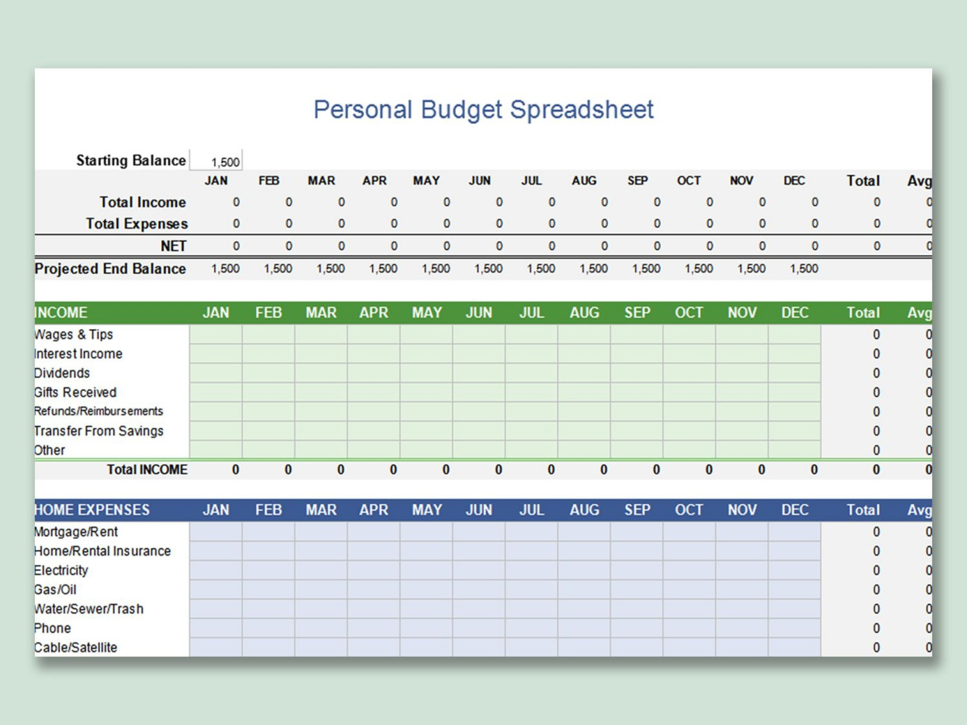 002 Exceptional Microsoft Excel Personal Budget Template Image  Monthly1920