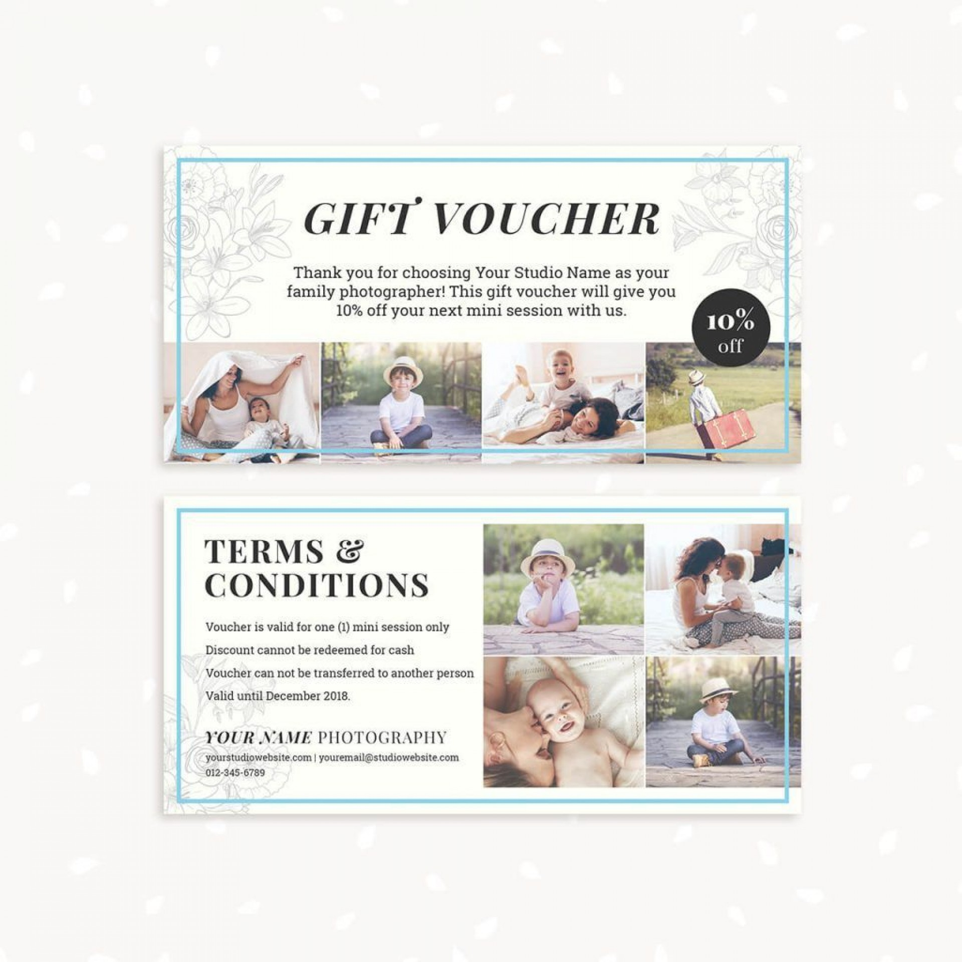 002 Exceptional Photography Session Gift Certificate Template Concept  Photo Free1920