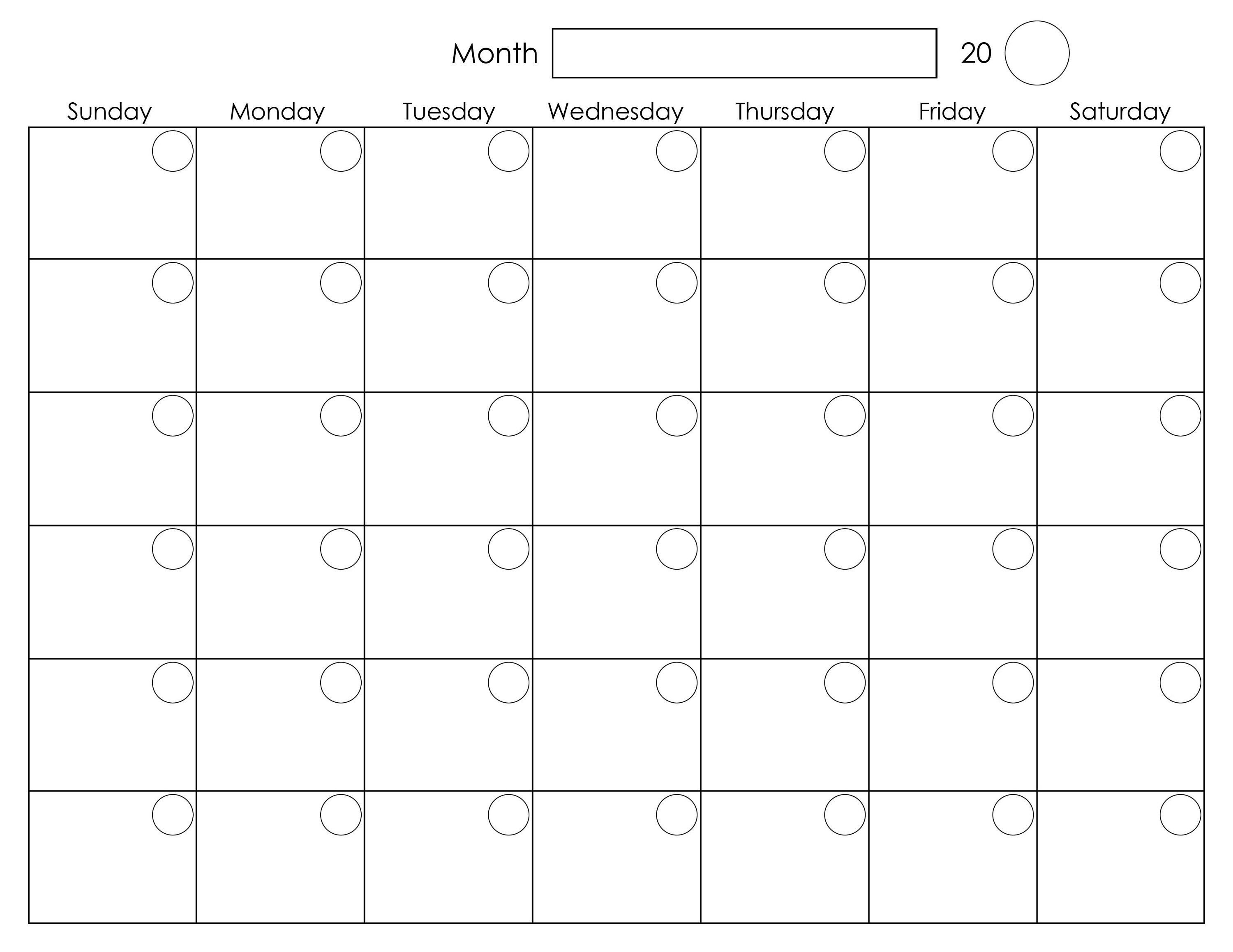 002 Exceptional Printable Blank Monthly Calendar Template Highest Clarity  PdfFull