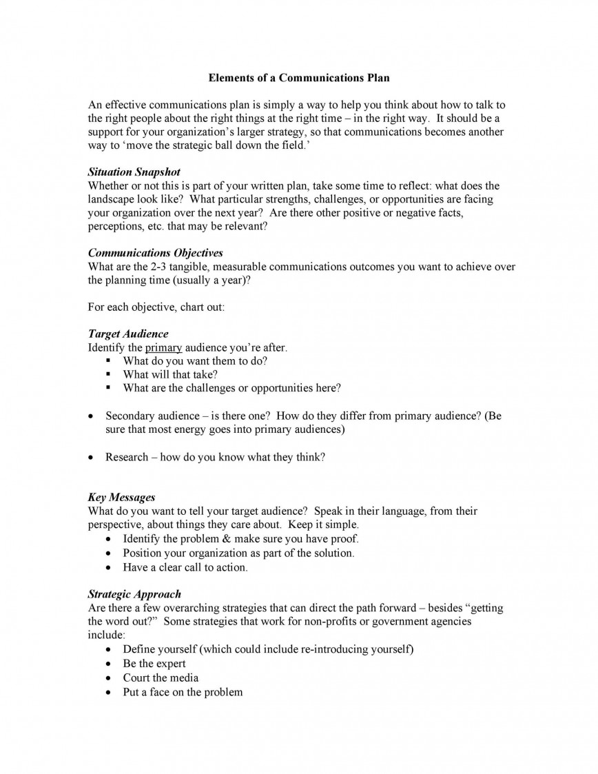 002 Exceptional Public Relation Communication Plan Example Photo  Template