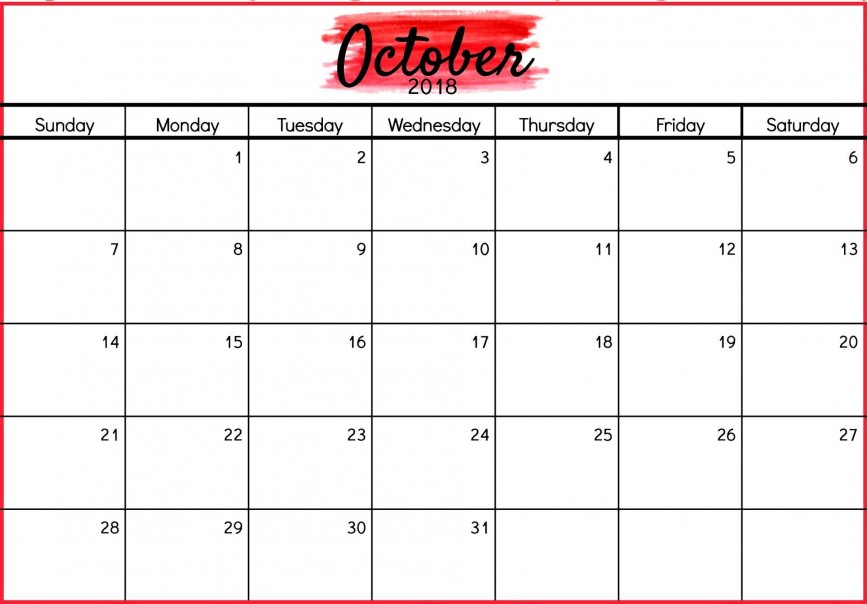 002 Fantastic Calendar Template October 2018 Word High Resolution