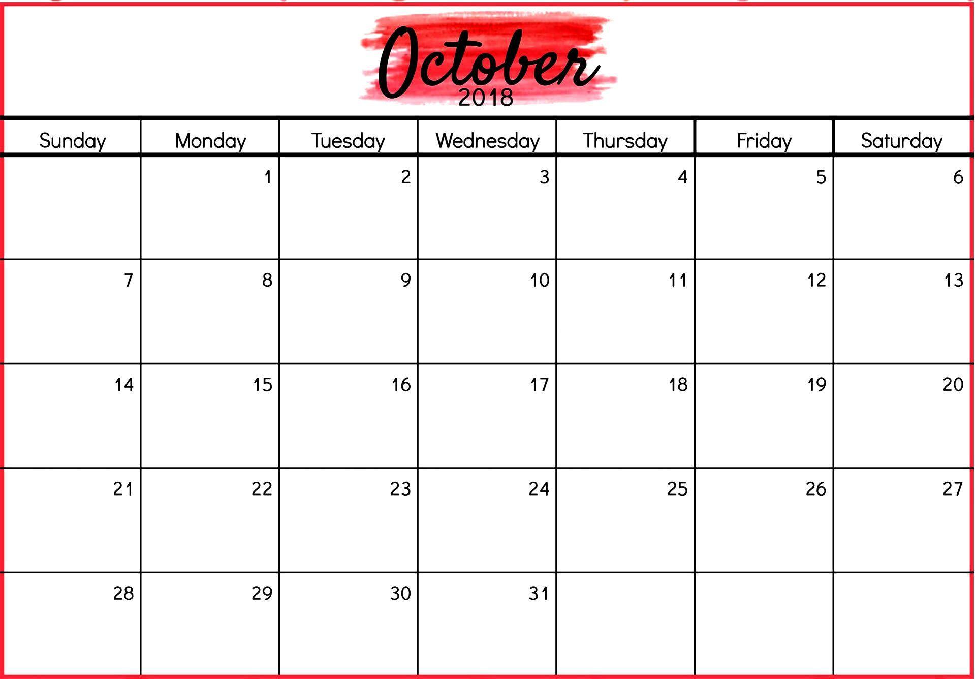 002 Fantastic Calendar Template October 2018 Word High Resolution Full