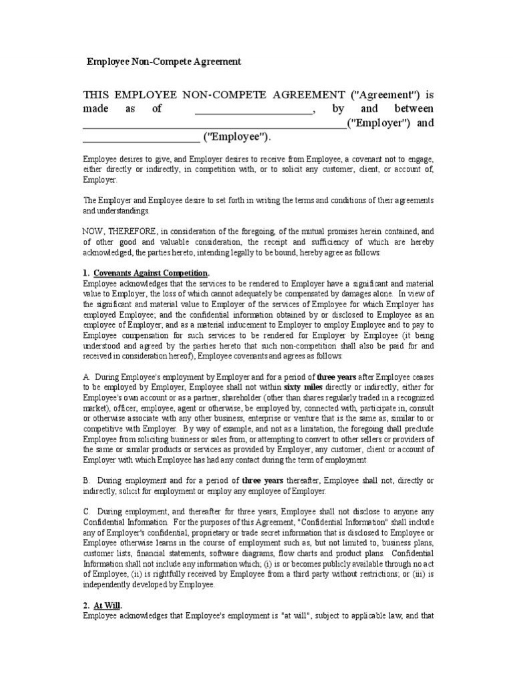 002 Fantastic Employee Non Compete Agreement Template Highest Quality  Free Confidentiality Non-compete DisclosureLarge
