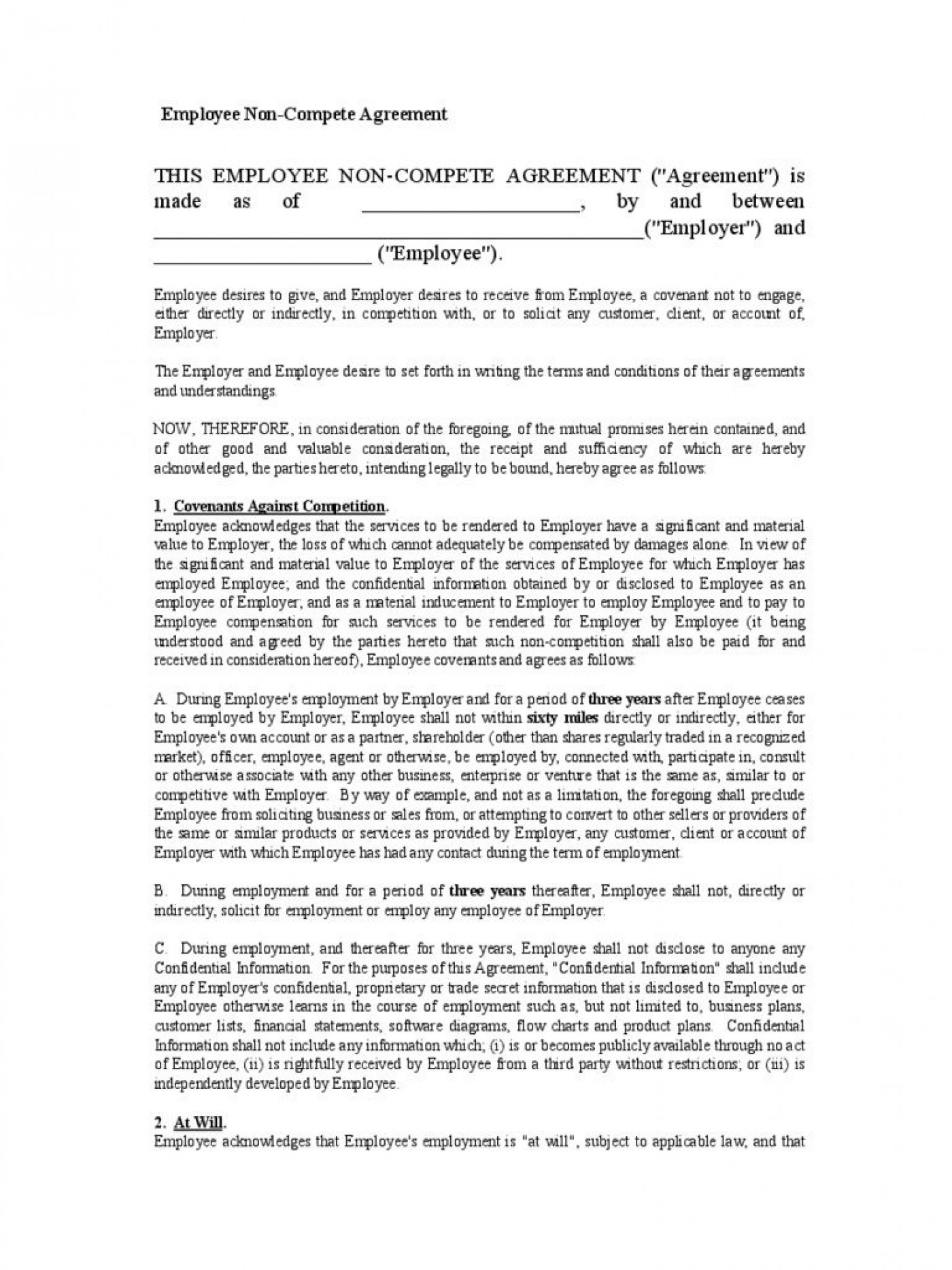 002 Fantastic Employee Non Compete Agreement Template Highest Quality  Free Confidentiality Non-compete Disclosure1400