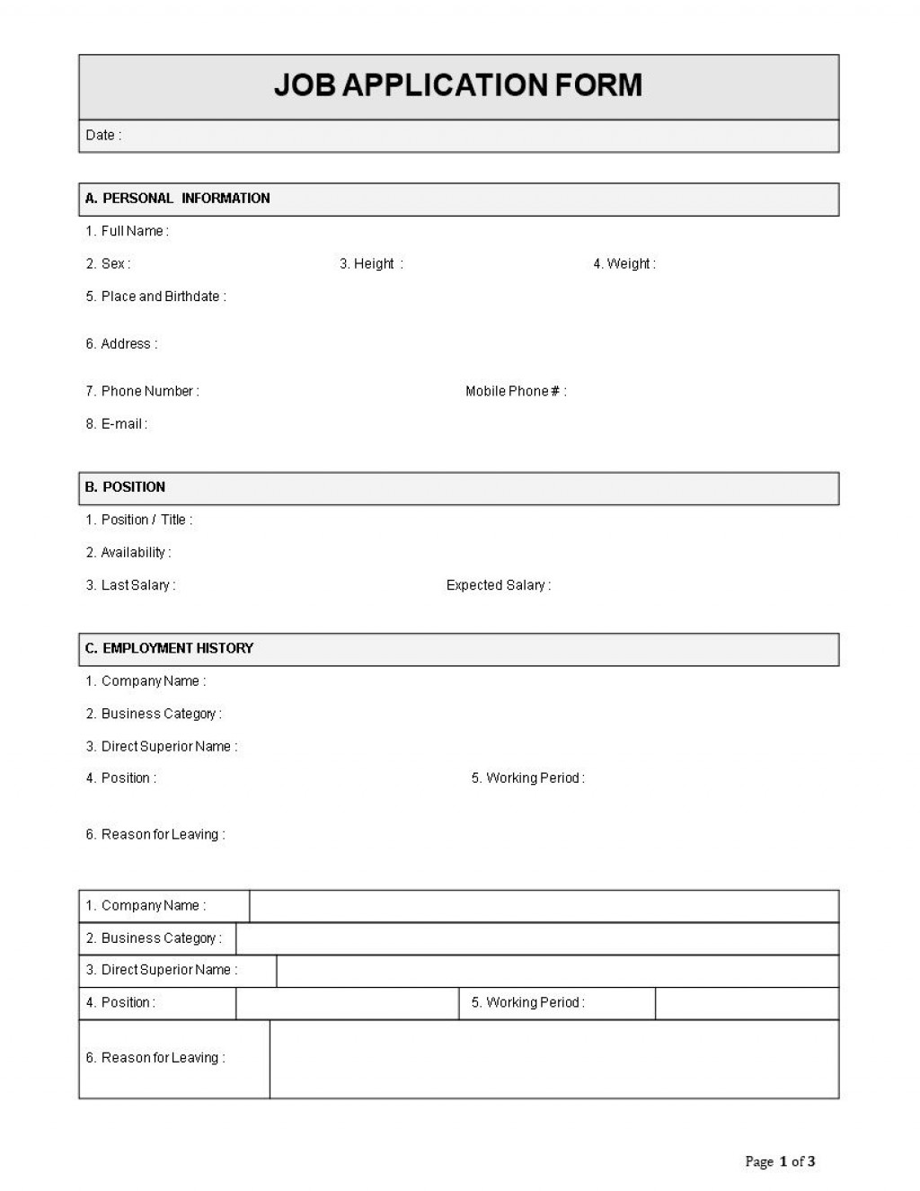 002 Fantastic Employment Application Template Word Highest Clarity  Form Document Employee SampleLarge