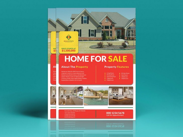 002 Fantastic House For Sale Flyer Template Highest Clarity  Free Real Estate Example By Owner728