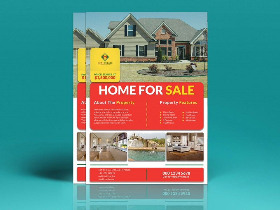 002 Fantastic House For Sale Flyer Template Highest Clarity  Free Real Estate Example By Owner960