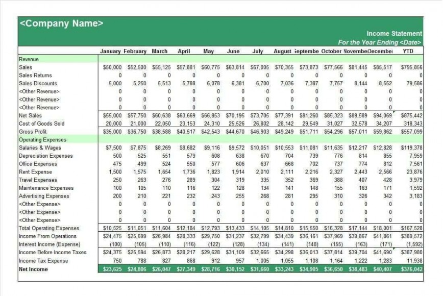 002 Fantastic Income Statement Format In Excel With Formula Example 868