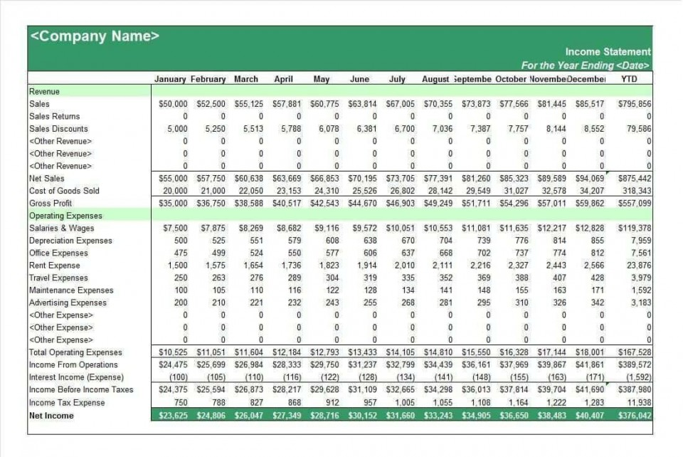 002 Fantastic Income Statement Format In Excel With Formula Example 960