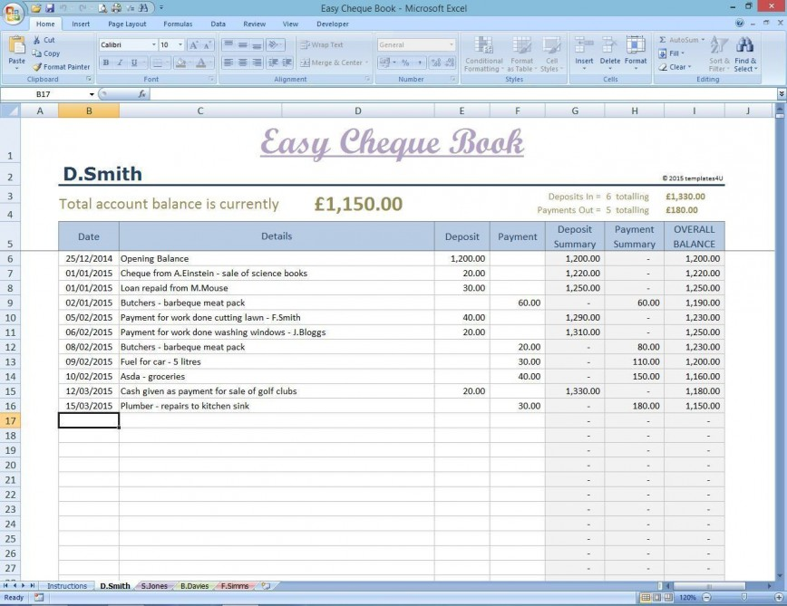 002 Fantastic Microsoft Excel Checkbook Template Concept  Register 2010868