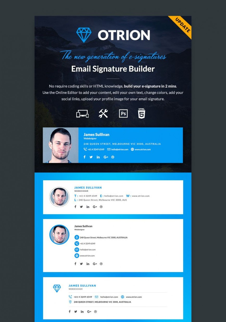 002 Fantastic Professional Email Signature Template Photo  Templates Download Example Busines