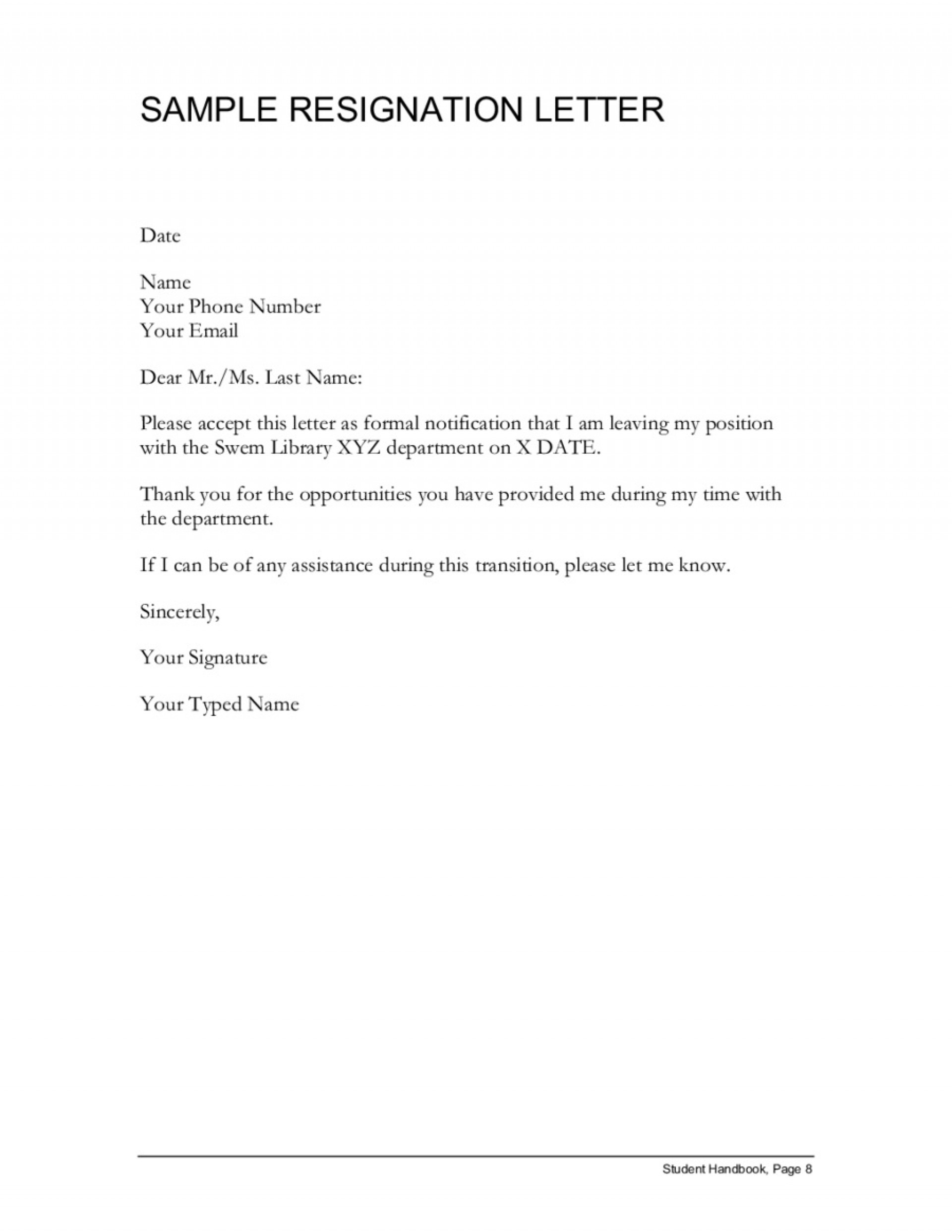 002 Fantastic Professional Resignation Letter Template High Def  Best Format Pdf How To Write A1920