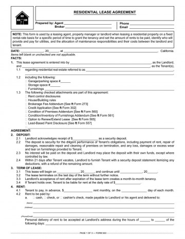 002 Fantastic Residential Lease Agreement Template Idea  Tenancy Form Alberta California360