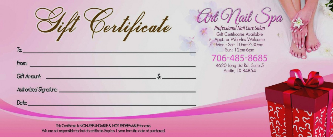 002 Fantastic Salon Gift Certificate Template Image 1400