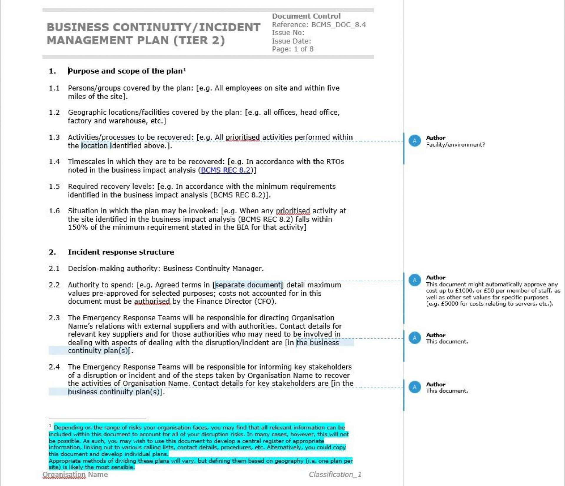 002 Fantastic Simple Busines Continuity Plan Template Sample  Australia For Small Businesse Basic Example1920