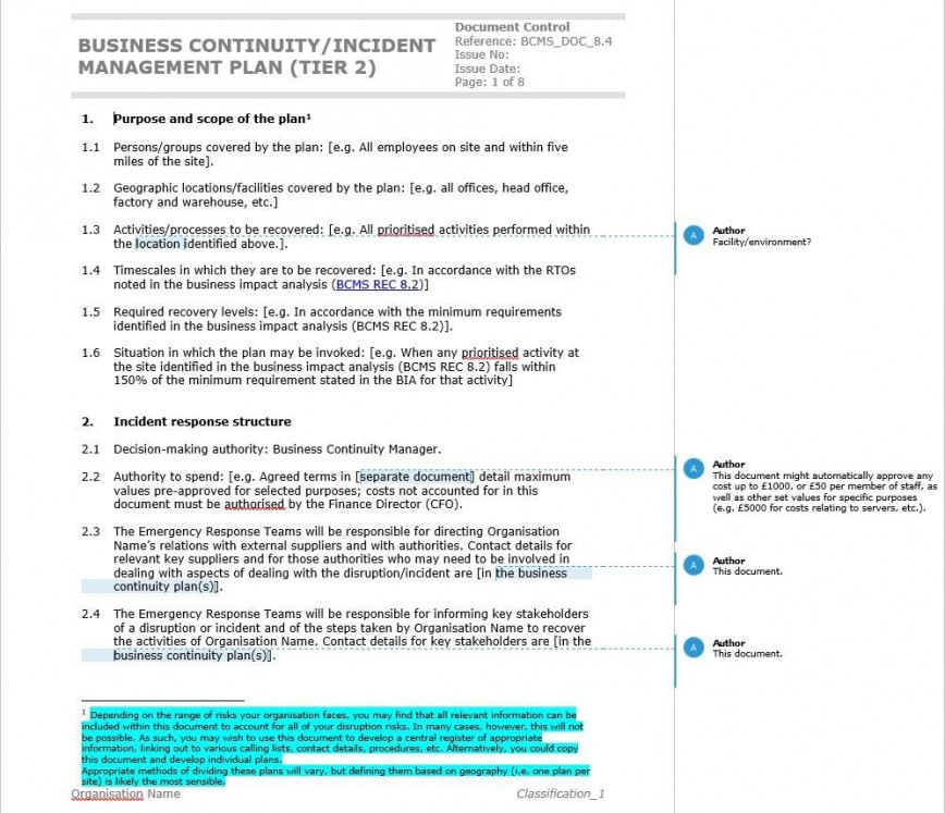 002 Fantastic Simple Busines Continuity Plan Template Sample  Example Small