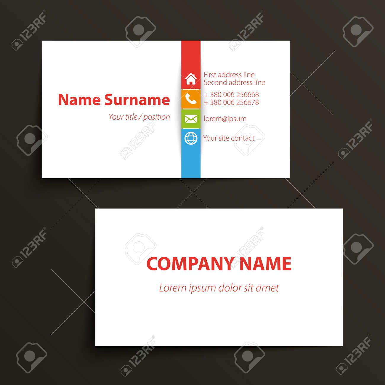 002 Fantastic Simple Visiting Card Template Picture  Templates Busines Psd Design File Free DownloadFull
