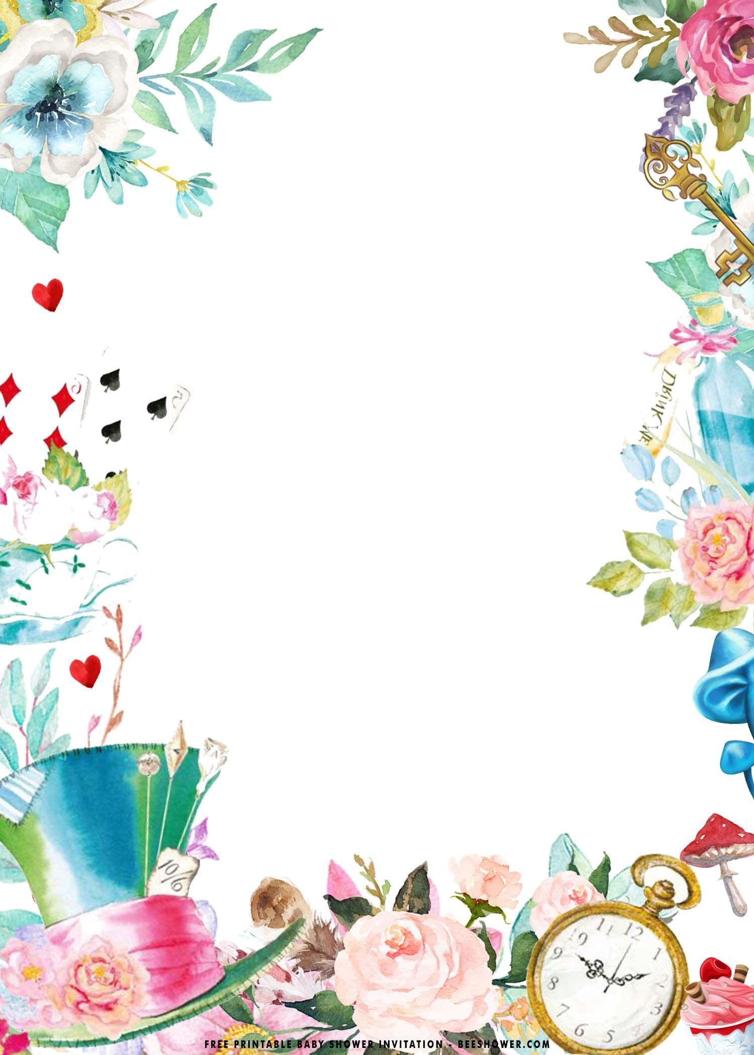 002 Fascinating Alice In Wonderland Birthday Party Invitation Printable Free Design Full